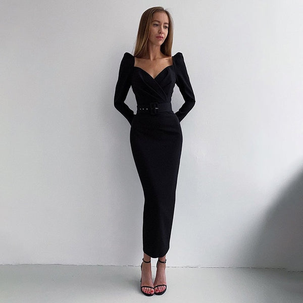 50s Long Black Pin Up Sheath Dress - Ma Penderie Vintage