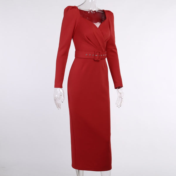 50s Long Pin Up Red Sheath Dress - Ma Penderie Vintage
