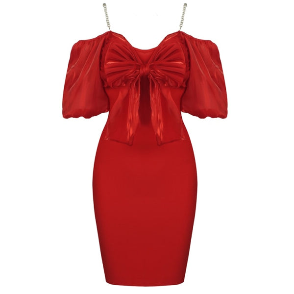 60s Retro Bodycon Dress Balloon Sleeves Red - Ma Penderie Vintage