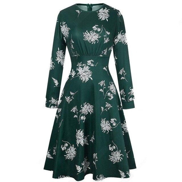 40s Retro Floral Dress Round Neck Green - Ma Penderie Vintage
