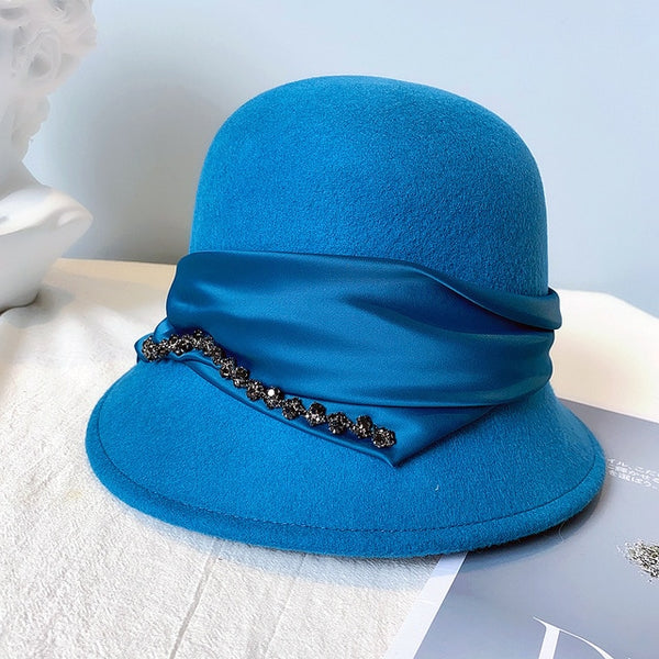 40s Blue Fedora Jewelry Cloche Hat - Ma Penderie Vintage