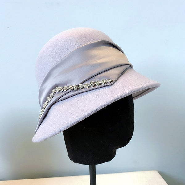 40s Cloche Hat Fedora Jewelry Lilac - Ma Penderie Vintage