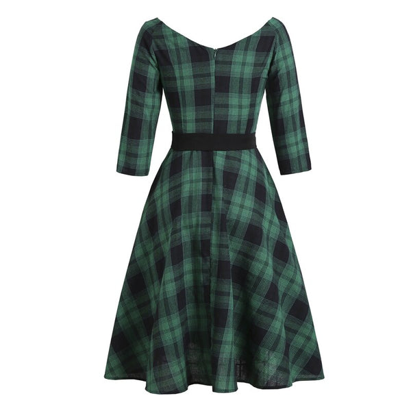 50s Pin Up Checkered Swing Dress Green - Ma Penderie Vintage