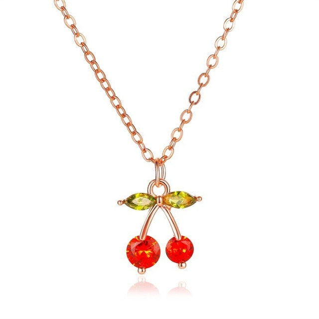 70s Cherry Charm Necklace - Ma Penderie Vintage