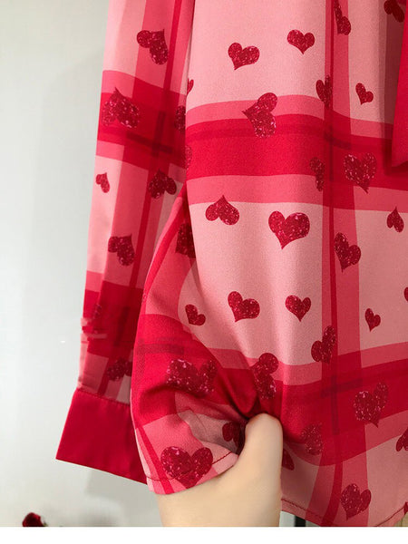 70s Retro Heart Pin Up Blouse - Red - Ma Penderie Vintage
