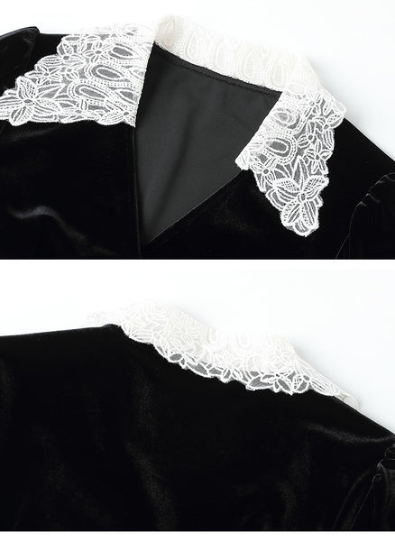40s Pin Up Pretty Black and White Velor Set - Ma Penderie Vintage