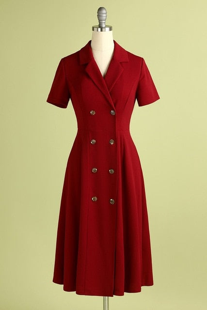 40s Flared Double Breasted Dress Red - Ma Penderie Vintage40s Flared Double Breasted Dress Red - Ma Penderie Vintage