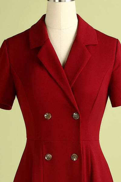 40s Flared Double Breasted Dress Red - Ma Penderie Vintage