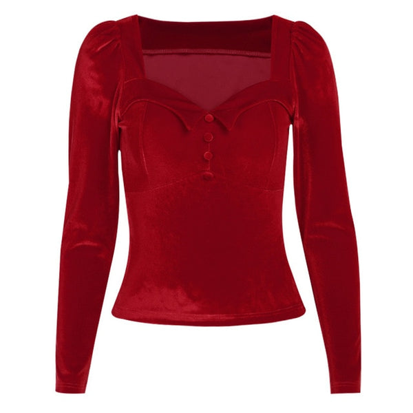 50s Heart Velor Neckline Top Pin Up Red - Ma Penderie Vintage
