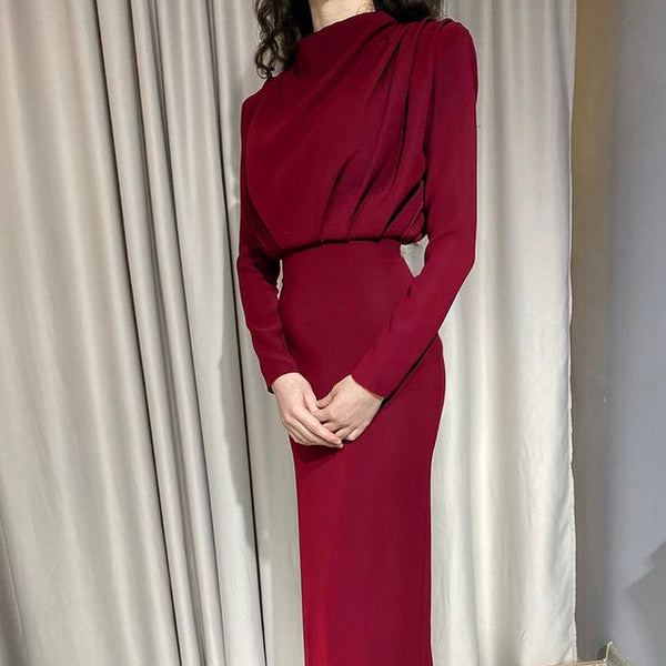 40s Beautiful Retro Red Pencil Evening Dress - Ma Penderie Vintage