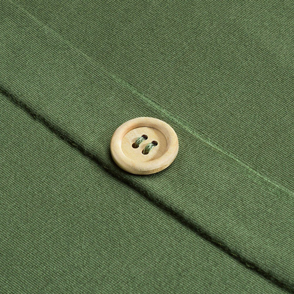 70s Day Dress Jersey Buttons Green - Ma Penderie Vintage