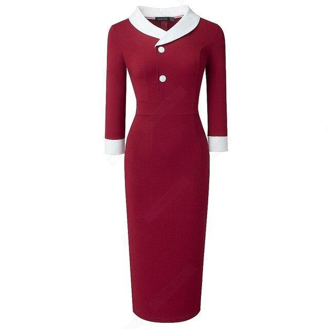 Sixties Jackie Sheath Dress Contrast Collar Red - Ma Penderie Vintage