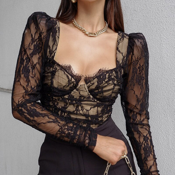 50s Retro Pin Up Lace Top