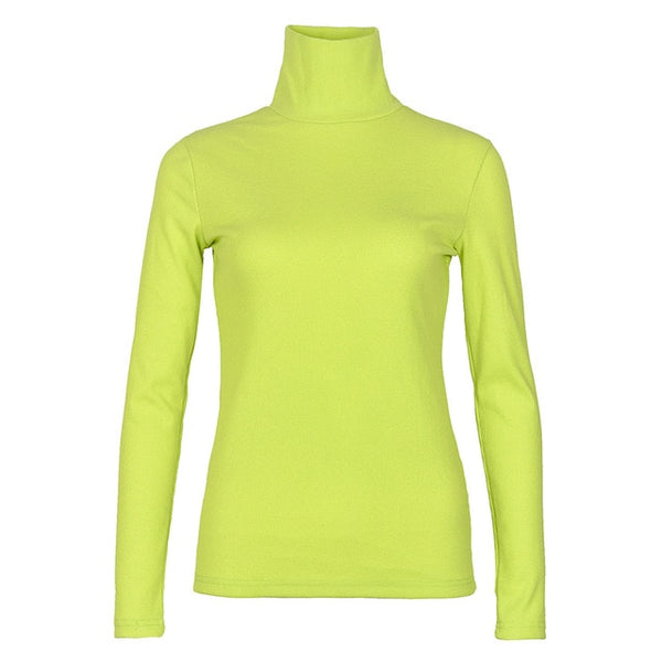 50s Classic Vintage Turtleneck Sweater Neon Green - Ma Penderie Vintage