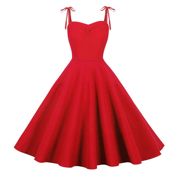 50s Flared Dress Vintage Strapless Monroe Bright Red - Ma Penderie Vintage
