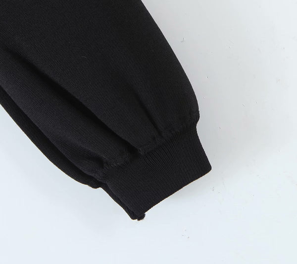 60s Black Glamor Buttons Short Knit Sweater - Ma Penderie Vintage