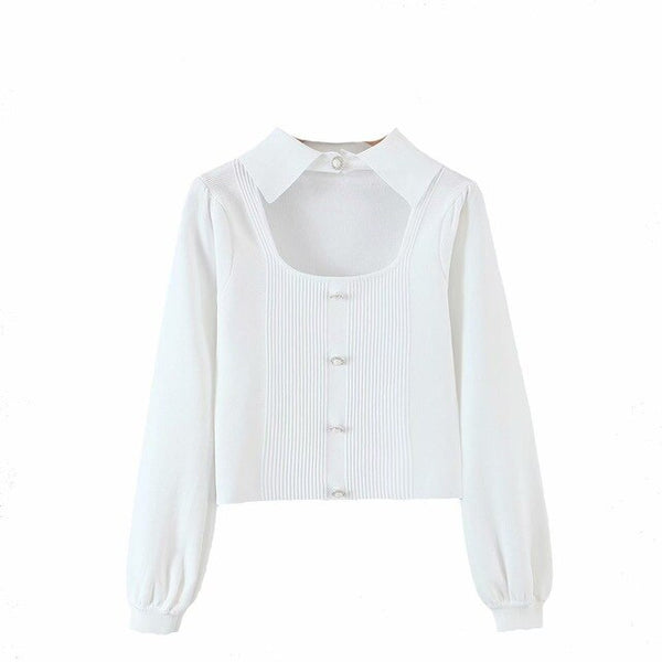 60s White Glamor Buttons Short Knit Sweater - Ma Penderie Vintage
