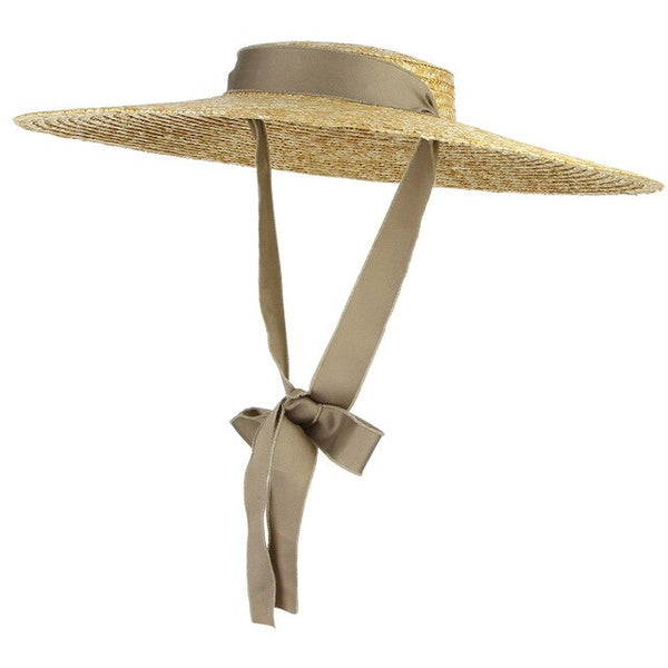60s Glamor Retro Straw Hat Taupe - Ma Penderie Vintage