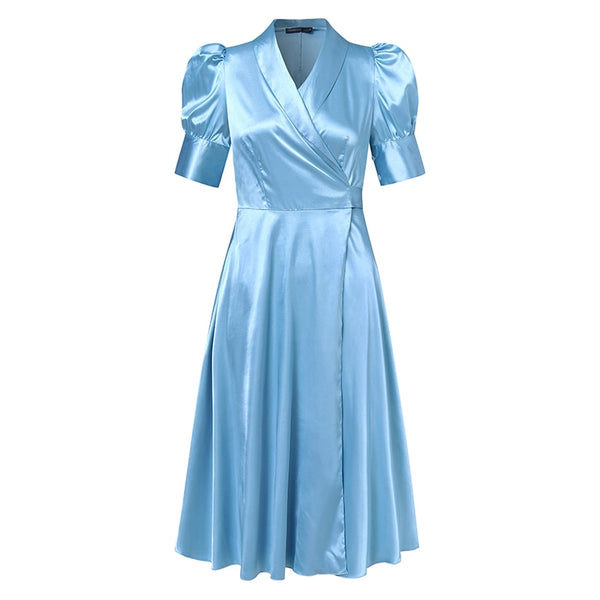 40s Hollywood Plus Size Evening Dress Blue - Ma Penderie Vintage