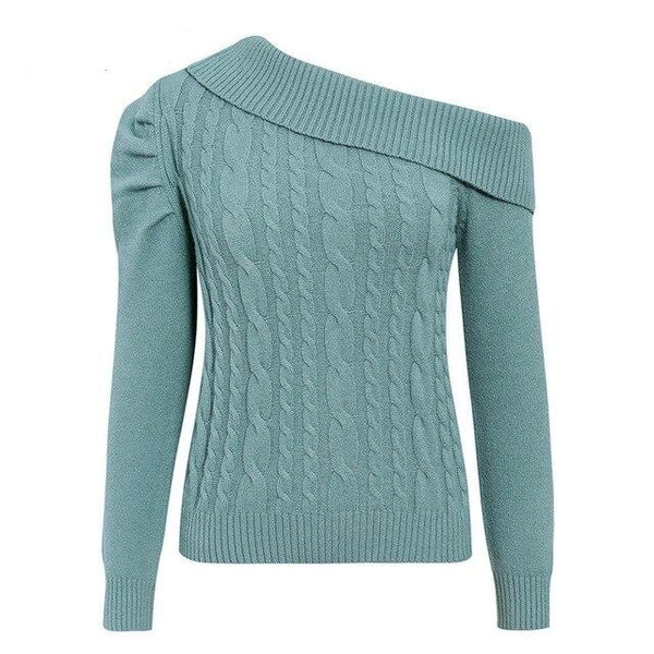 30s Asymmetric Cable Knit Retro Turquoise Sweater - Ma Penderie Vintage