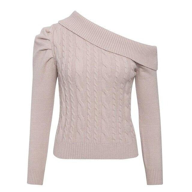 30s Asymmetric Cable Knit Retro Sweater Powder Pink - Ma Penderie Vintage