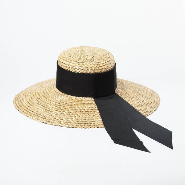 50s Saint-Tropez Straw Hat Pin Up Natural - Ma Penderie Vintage