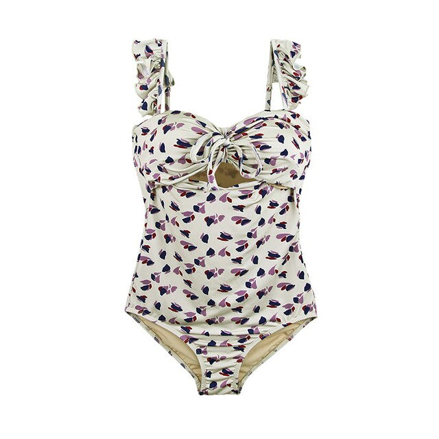 40s Ivory Liberty Floral One Piece Swimsuit - Ma Penderie Vintage