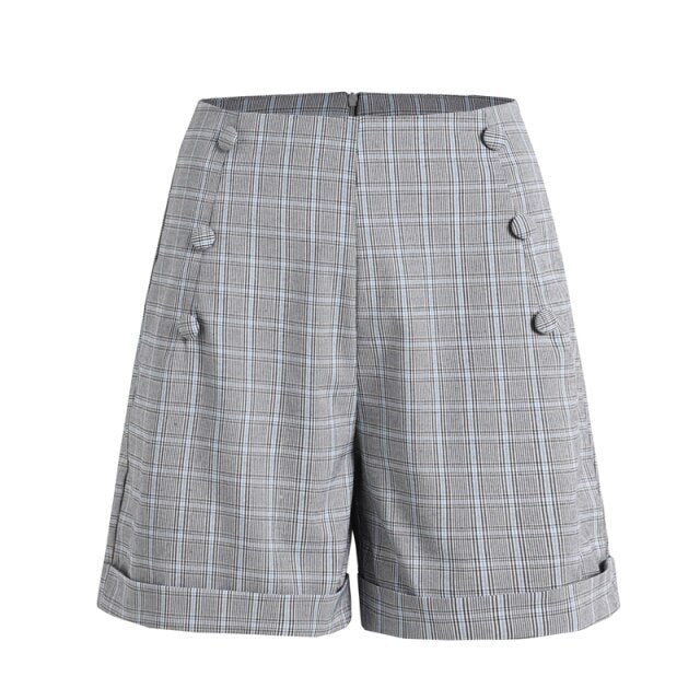 60s Double Breasted Retro Check Shorts Gray - Ma Penderie Vintage