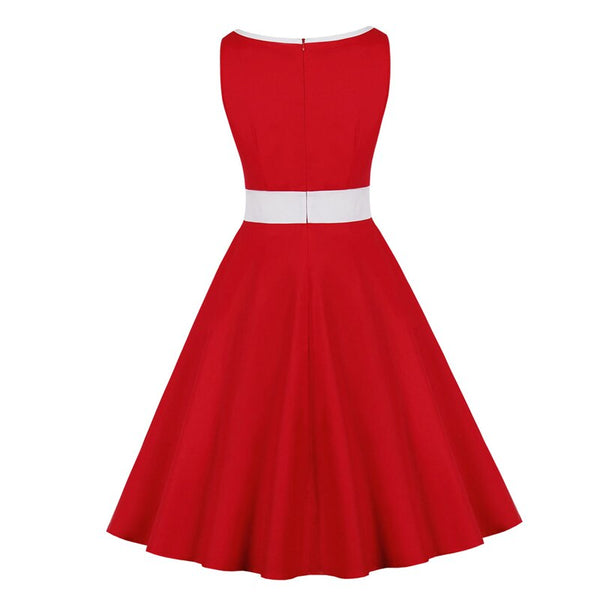 60s Rock A Billy Contrast Retro Red Dress - Ma Penderie Vintage