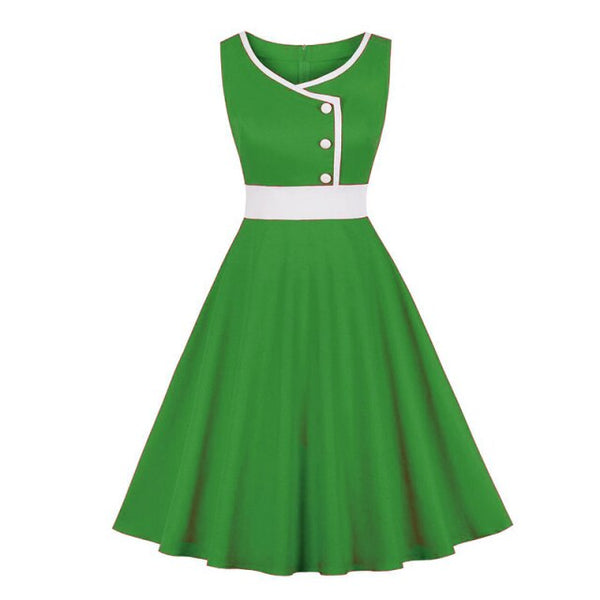 60s Retro Contrast Rock A Billy Dress Green - Ma Penderie Vintage