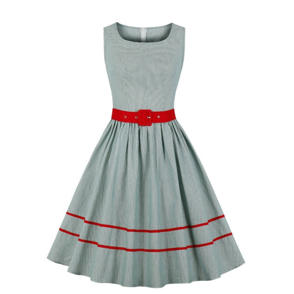 50s Flared Dress Three Holes Striped Green - Ma Penderie Vintage
