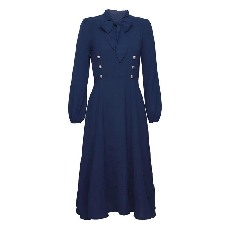 40s Mid-Length Retro Navy Double Buttoned Dress - Ma Penderie Vintage
