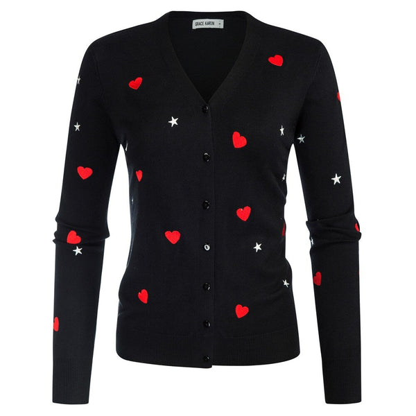 60s retro cardigan with heart and stars pattern black - Ma Penderie Vintage