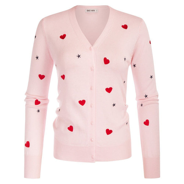 60s Retro Cardigan Heart and Stars Pattern Pink - Ma Penderie Vintage