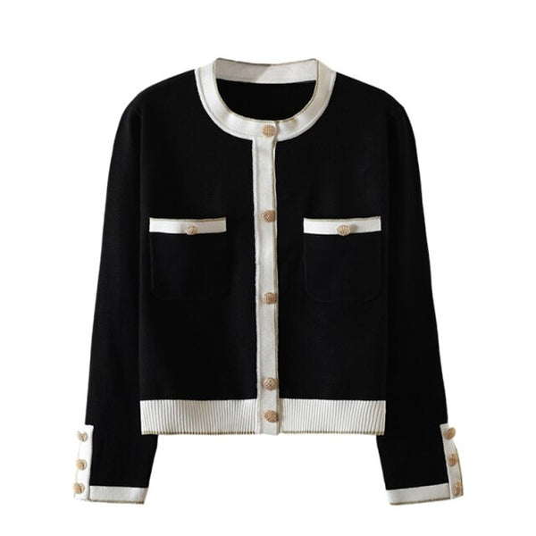 60s Gabrielle Retro Cropped Cardigan Black and White - Ma Penderie Vintage