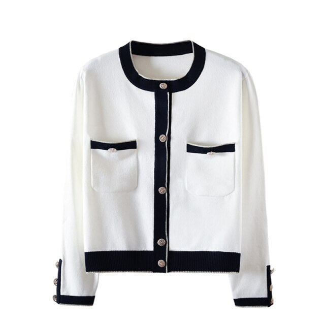 60s Gabrielle Retro Cropped Cardigan White - Ma Penderie Vintage