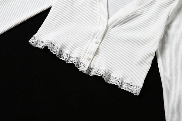 50s Housewife Short Lace Cardigan White - Ma Penderie Vintage