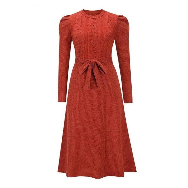 60s Kate Long Sleeve Knit Dress Red - Ma Penderie Vintage