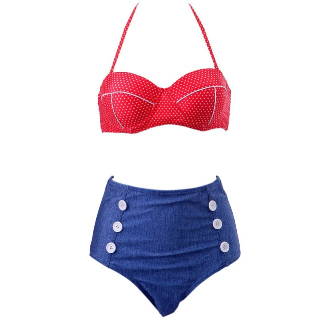 60s Pin Up Tricolor Double Breasted Swimsuit Blue Red - Ma Penderie Vintage