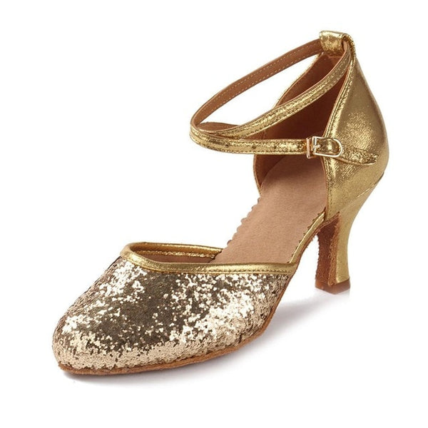 40s Dorothy Retro Glamor Gold Evening Shoes - Ma Penderie Vintage