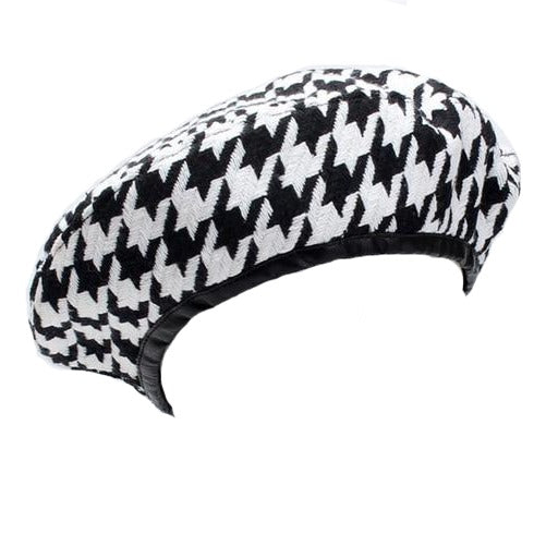 60s Black and White Houndstooth Retro Beret - Ma Penderie Vintage