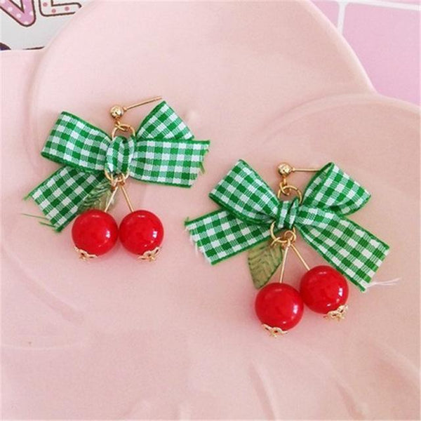 50s Retro earrings with cherry and Bow Jewelry - Ma Penderie Vintage