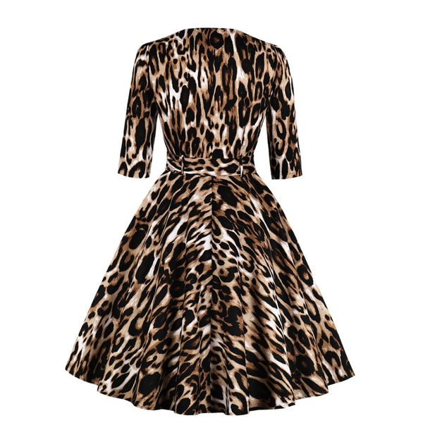 50s Flared Pin Up Leopard Print Dress - Ma Penderie Vintage