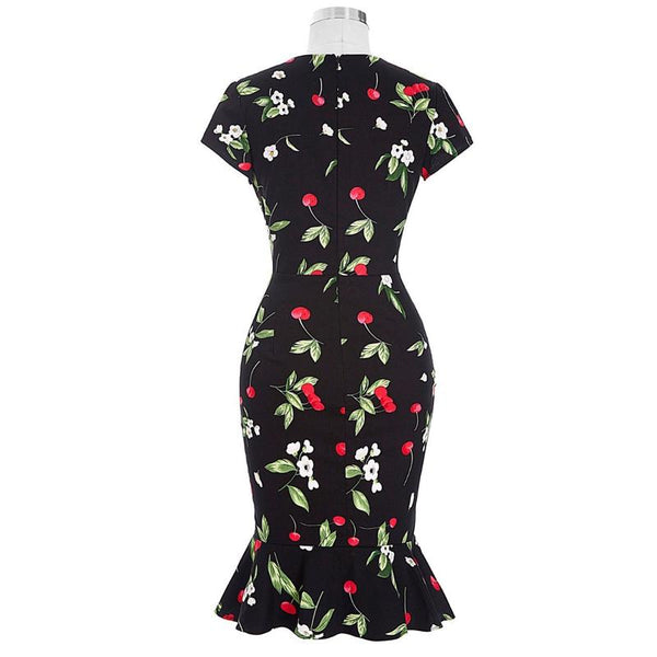 50s Black Cherry Pin Up Trumpet Dress - Ma Penderie Vintage