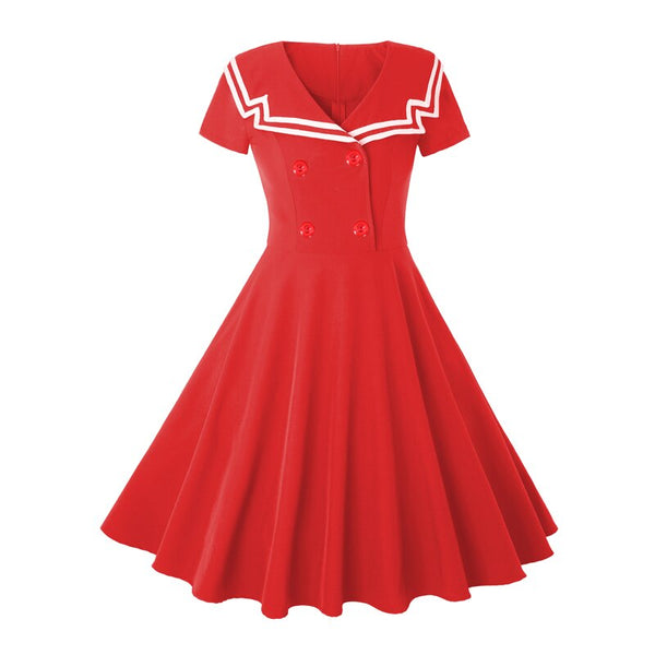 50s Nautical Retro Rock A Billy Flare Dress Red - Ma Penderie Vintage