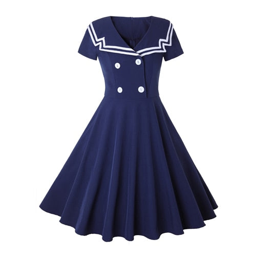 50s Nautical Retro Rock A Billy Flared Dress Blue - Ma Penderie Vintage