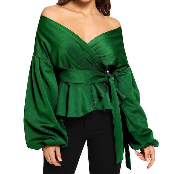 70s Blouse Cache Coeur Dropping Shoulders Green - Ma Penderie Vintage