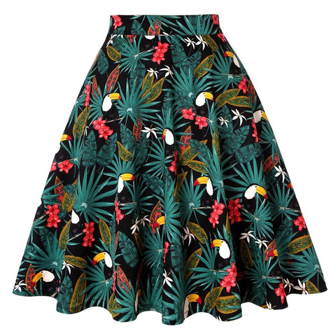 50s Rock A Billy Tropical Print Skirt - Ma Penderie Vintage