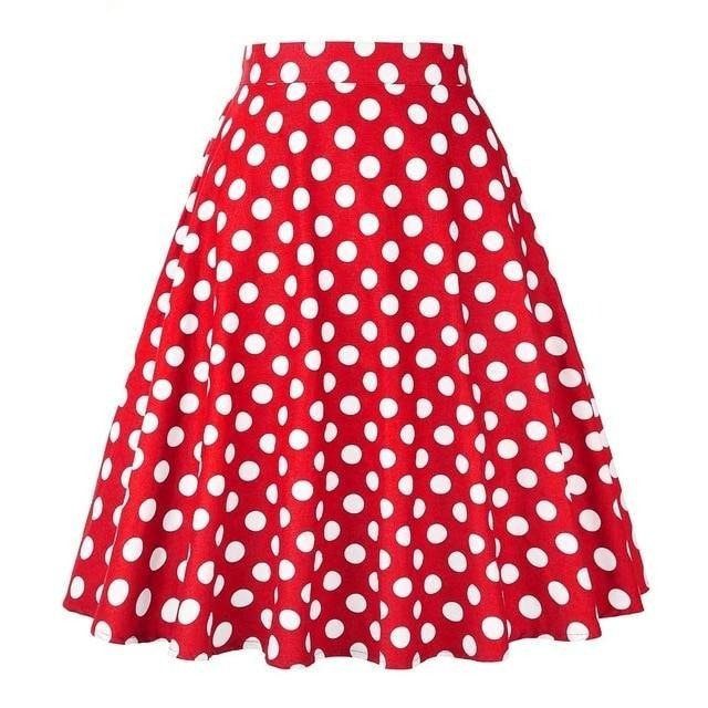 50s Red Pin Up Polka Dot Circle Skirt - Ma Penderie Vintage
