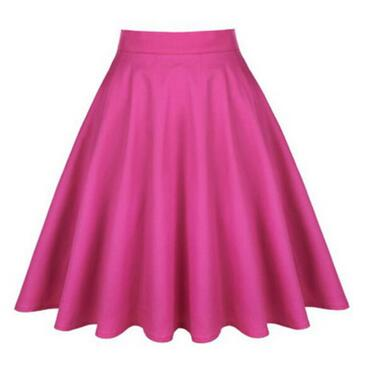 50s Pink Classic Plain Circle Skirt - Ma Penderie Vintage